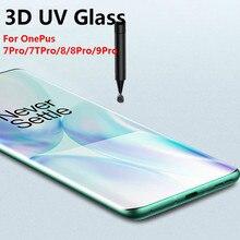 Jgkk para oneplus 9 8 7t pro protetor de tela de vidro uv líquido cola completa vidro temperado para um mais 9 8 7t pro filme potective