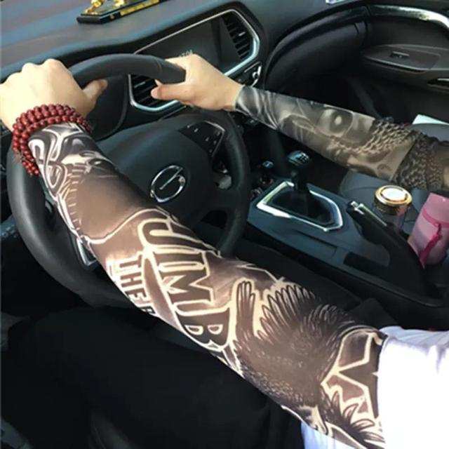Ciclismo ao ar livre tatuagem braço manga homem mulher falsa tatuagem impresso uv mtb bicicleta mangas braço absorção de suor 3