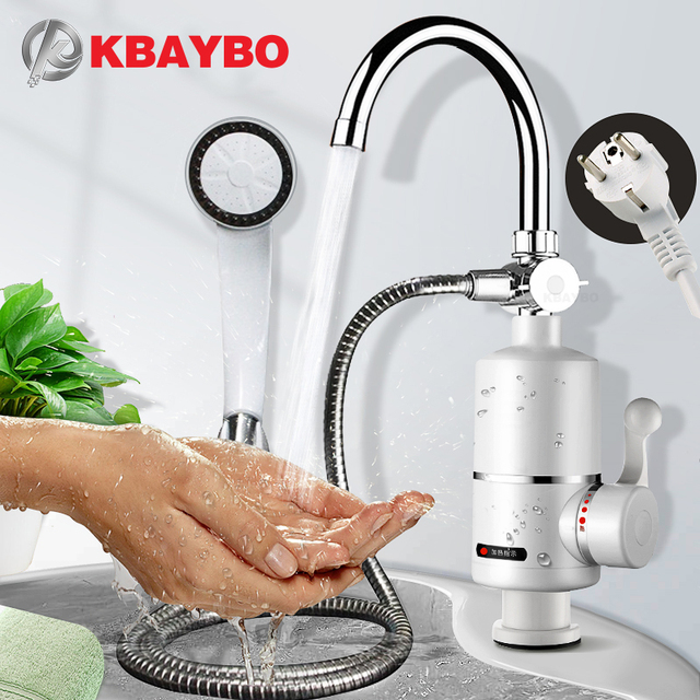 KBAYBO grifo calentador de agua eléctrico para cocina, calentador de agua caliente instantáneo sin depósito, 3000
