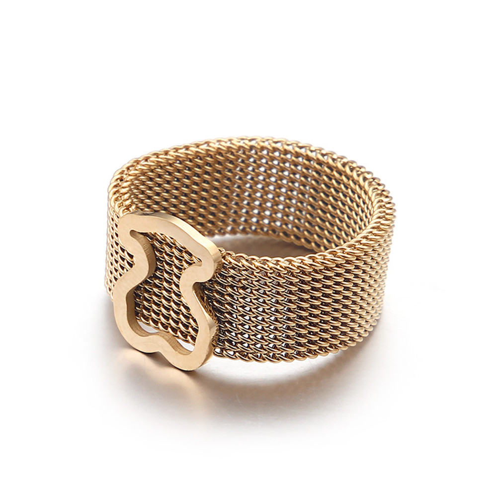 Bear ring stainless Steel Mesh Ring Single top High Quality Ring for Women and men Tricolor Wholesale price New style Hot sell