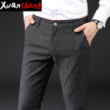 Brand gray men's casual pants 2020 autumn winter thick stret