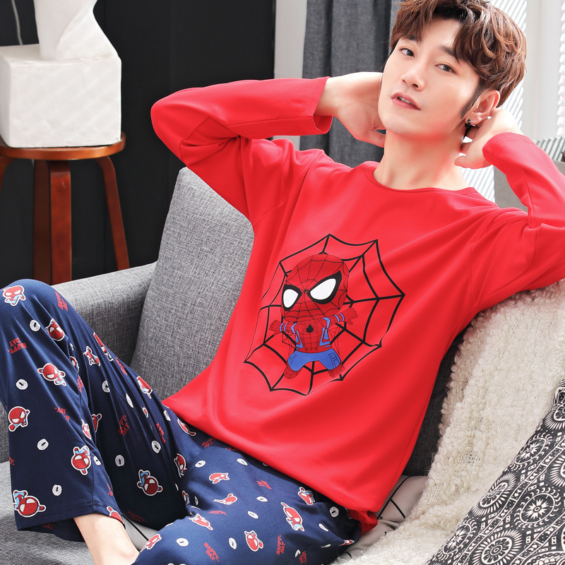 Bejirog blue men's pajama sets knited keep warm lounge sleep clothes long sleeve sleepwear for male undershirt in autumn winter