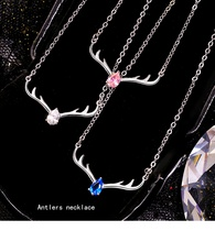 Celebrity deer has your necklace female crystal antlers simple pendant Sen style fashion vibrato with the same clavicle chain