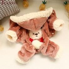 Transer, толстая флисовая бархатная одежда для собак, зимняя теплая толстовка с капюшоном, комбинезон для собаки, четыре ноги, штаны с рисунком медведя, одежда для щенков 908