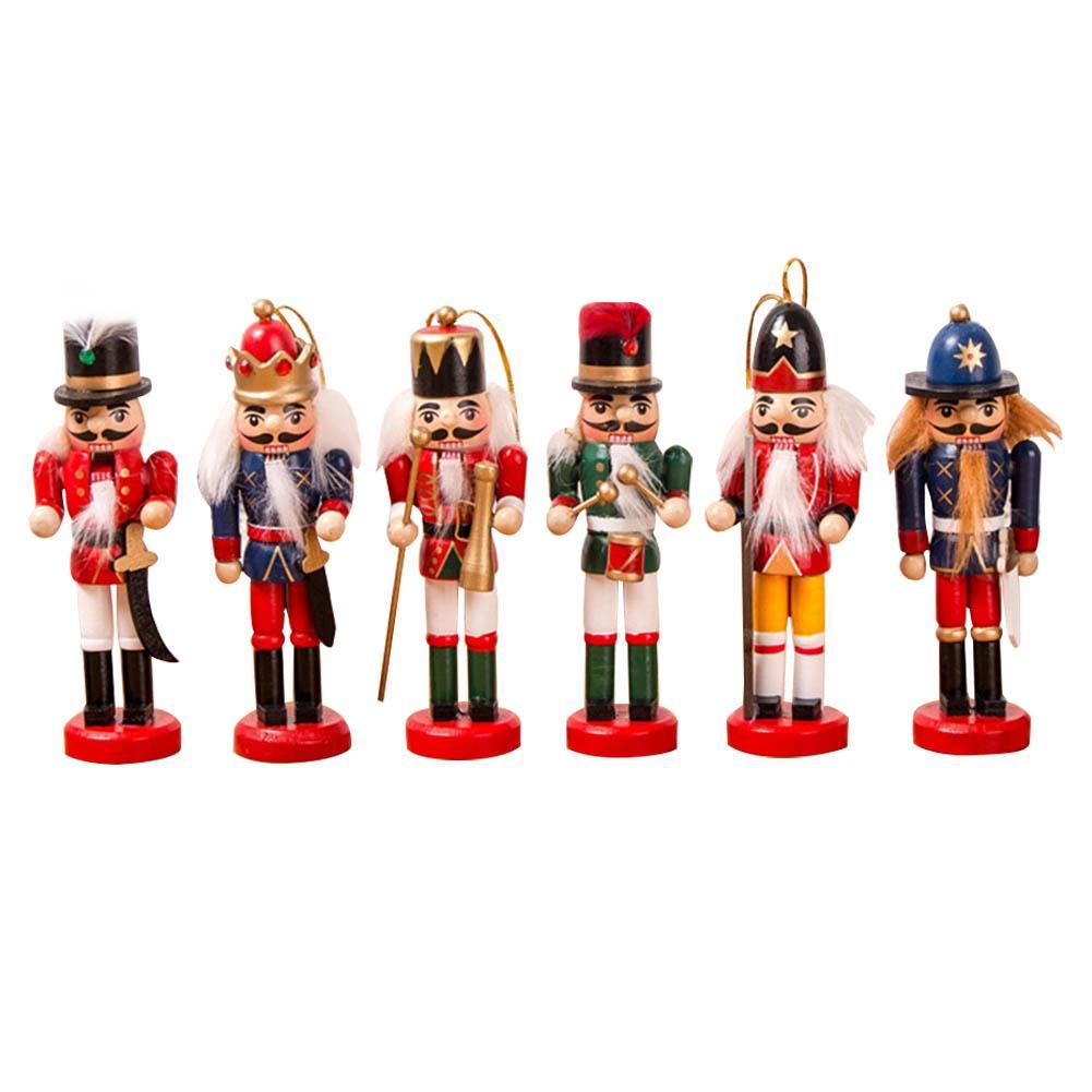 6PCS//Set Wooden Nutcracker Puppet Soldier Ornaments Christmas Tree Hanging Decor
