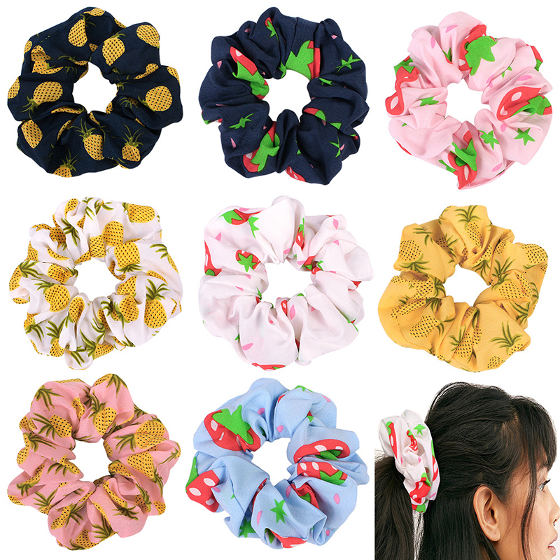 Strawberry Pineapple Printed Scrunchie Elastic Hair Band Hair Ties Girls Cute Elastic Ponytail Holder White Pink Yellow Headwear