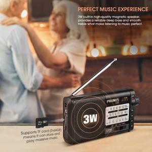 Image 5 - PRUNUS נייד רדיו מקלט AM FM/SW רטרו בגלים קצרים רדיו AUX/TF כרטיס MP3 לשחק נטענת רדיו עם DSP 2200mAh סוללה