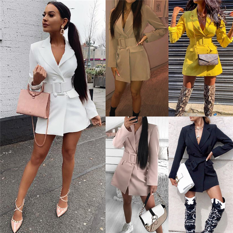 2019 Sexy Women Lapel Blazers Double Breasted Belt Blazers OL Slim Long Sleeve Deep V-neck Dress Coat Jacket Outwear Fall Style