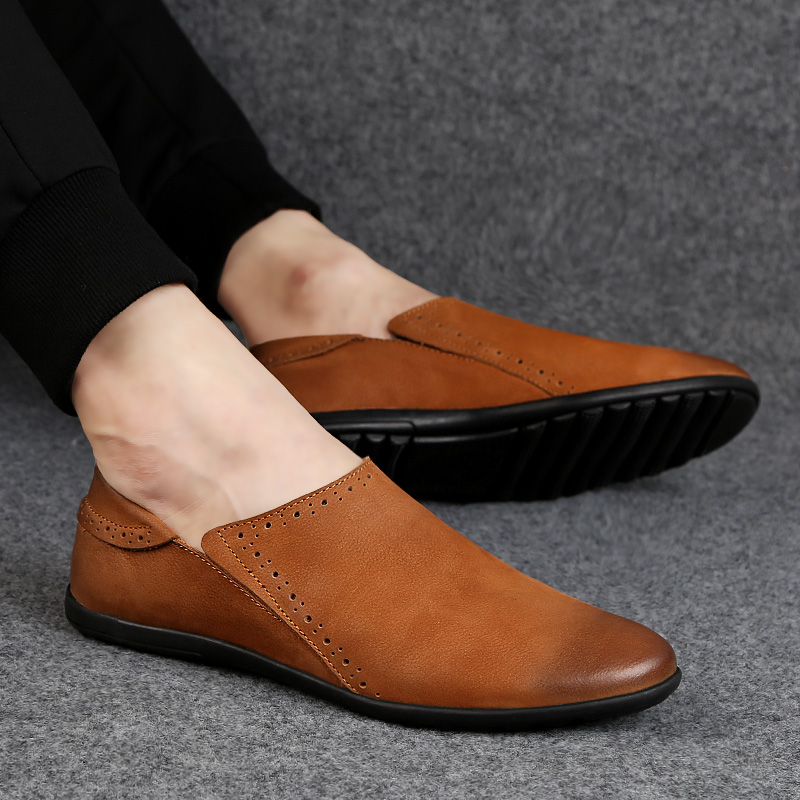 Men Peas Shoes Pointed Toe Mens Formal Shoe brown Elegant Simple Suit Gentleman Loafers Flats business Leather Size 38-44 %