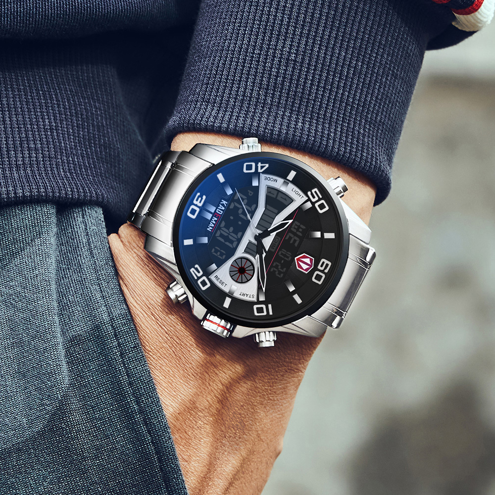 KADEMAN K6171 Luxury Men Watches 2019 Tech LCD Sport Man Watch Full Steel 3ATM Digital Wristwatch Original Brand Casual Business