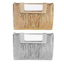 Bolso elegante de hoja de aluminio para mujer, bolso de noche para fiesta nupcial, bolso de boda para graduación, monedero