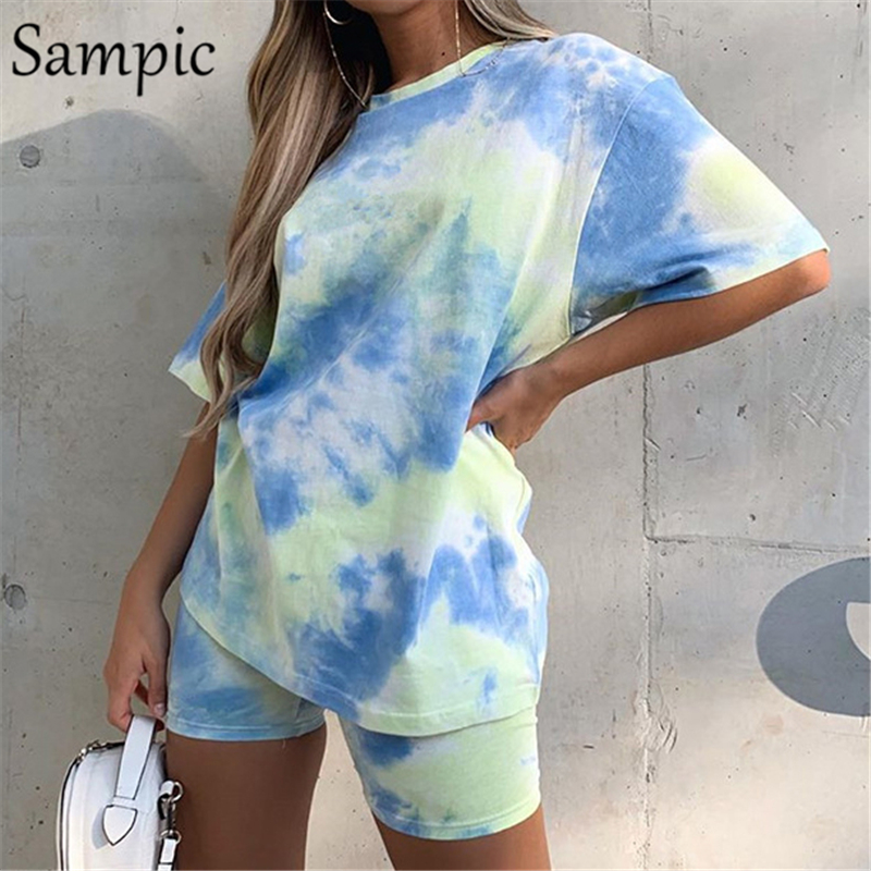 Sampic Women Loose Summer Sets O Neck Tie Dye Short Sleeve Top Shirt And Biker Bodycon Shorts Outfits Casual Two Piece Set 2020