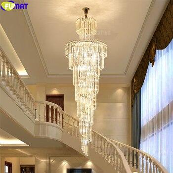 FUMAT cristal K9 columna lámparas colgantes Villa escalera sala de estar luz espiral corte estilo europeo lámpara colgante accesorio