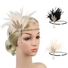 Acessórios para o cabelo do vintage flapper acessórios pena bandana great gatsby festa traje chapéu grampo de cabelo para as mulheres
