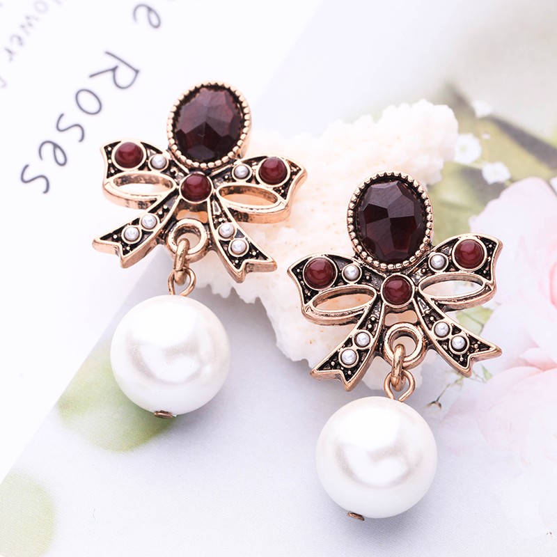 Imitation Pearls Earrings Butterfly Knots Drop Earrings Antique Gold Color For Women Fashion Jewelry Wholesale Free Shipping