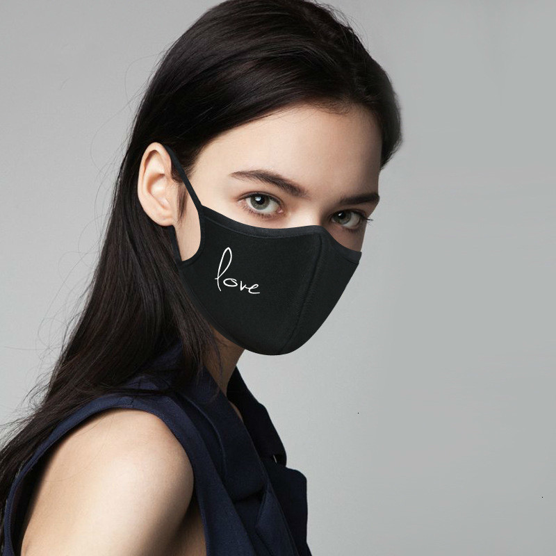 Unisex Winter Thicken Cotton Half Face Mouth Mask Black White Cute Cartoon Printed Dustproof Cycling Muffle Respirator