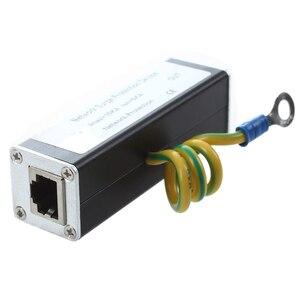 CAT5 CAT6 Protector PoE + Gigabit 1000Mbs RJ45 Jack a RJ45 toma de Ethernet, supresor de picos de tensión trueno descargador de corrientes de rayo POE Gigabit