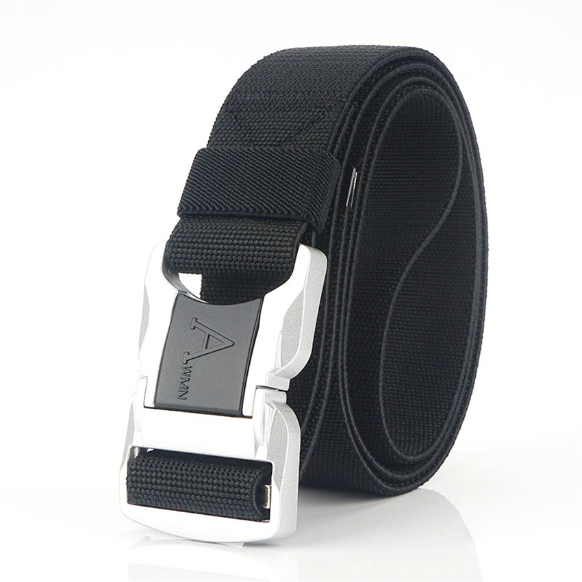 Elastic Trousers Belt Men Aluminum Alloy Silver Safety Buckle Army Belt Tactical Designer Canvas Nylon Belts Long Waist Belt New