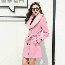 Модные уличные зимние длинные пальто для женщин элегантные двубортные