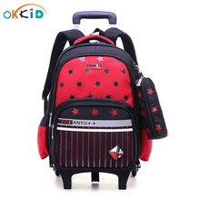 School Backpack Trolley Wheels Detachable OKKID Girls Kids Children for Book-Bag on Stair-Climbing