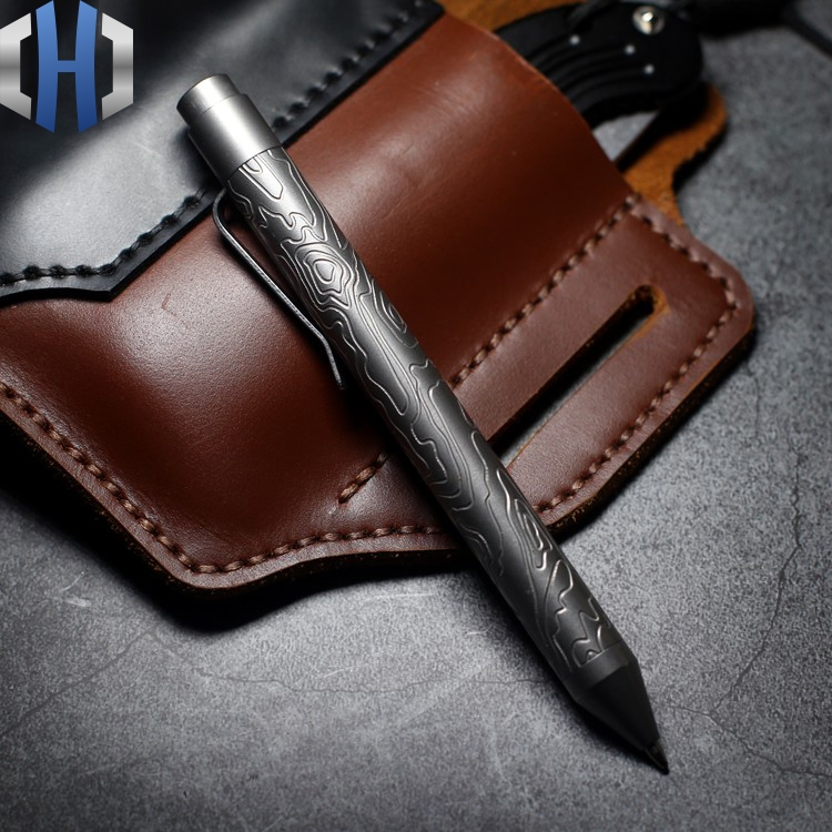 Nottingham Carving Topography Titanium Alloy Tactical Pen Copper Brass Self-defense Pen