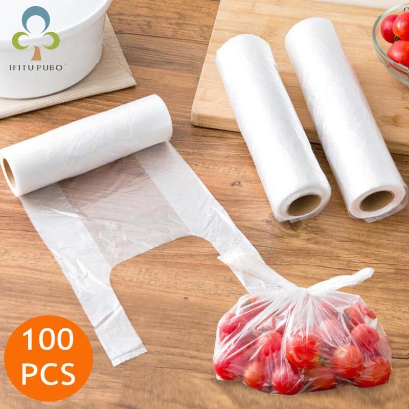Пластиковые пакеты для сохранения свежести в рулоне 100 шт., вакуумные пакеты для сохранения продуктов, 3 размера, пакеты для хранения продукт...