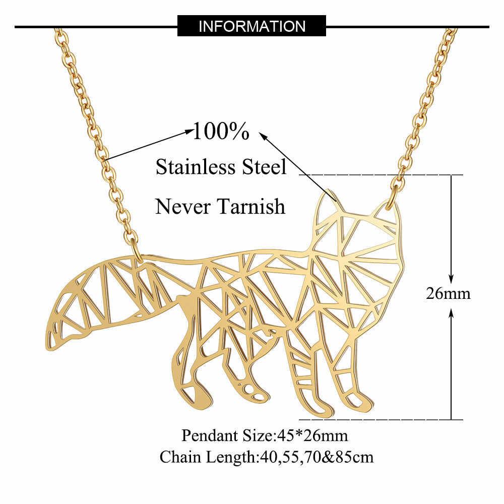 100% สแตนเลสแท้ 40 ซม.ขนาดใหญ่ Fox ยาวสร้อยคอสัตว์ที่ไม่ซ้ำกันเครื่องประดับสร้อยคออิตาลีออกแบบคุณภาพสูง