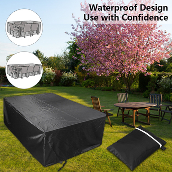 Waterproof Polyester Patio Table Cover 3 Sizes All-Purpose Chair Set Outdoor Furniture Cover Protective Dust Covers Garden Patio image