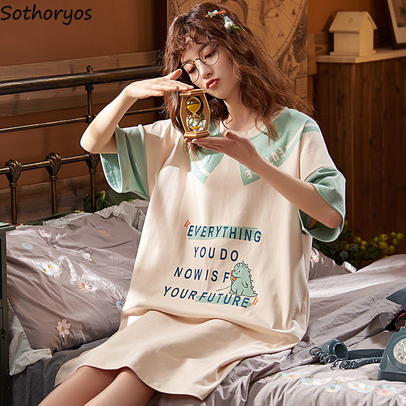 Nightgowns Women Short Summer Loose 3XL Print Korean Style Cartoon Pleated Leisure Sleepwear Womens Pyjamas Elegant Trendy Chic
