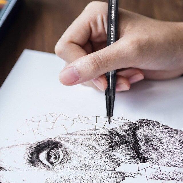 10 Pcs/Set Pigment Liner Micron Ink Marker Pen 0.05 0.1 0.2 0.3 0.4 0.5 0.6 0.8 1.0 Brush Tip Black Fineliner Sketch Drawing Pen 4
