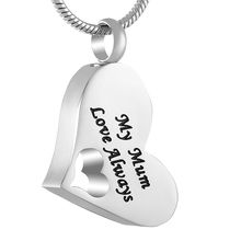 IJD8529 Hollow Heart Stainless Steel Cremation Keepsake Pendant Necklace for Ashes Urns Memorials Jewelry