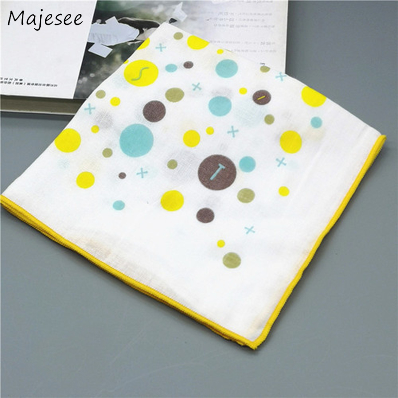 Handkerchiefs Women Cute Cartoon Printed Pocket Square Handkerchief Womens Daily Soft Cotton Females Kawaii Fashion Chic Simple