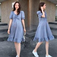 Maternity-Dress Korean-Fashion Summer Pregnant-Women V-Neck Slim Sweet A-Line Plaid