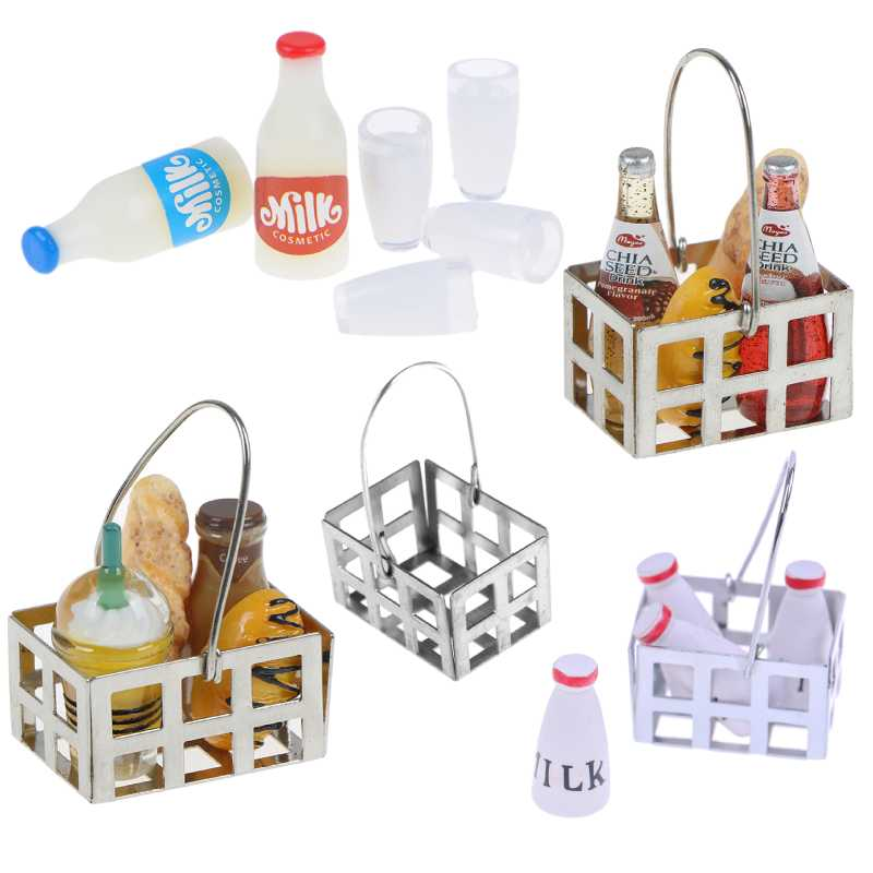 Food Metal Coffee Wine Bread Basket Milk Bottles+Milk Cup Breakfast 1:12 Dollhouse Miniature Kitchen Toy Accessories