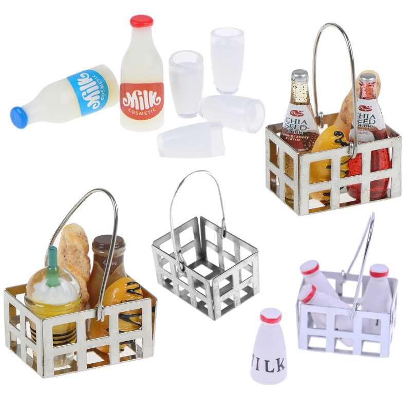 Food Metal Coffee Wine Bread Basket Milk Bottles+Milk Cup Breakfast 1:12 Dollhouse Miniature Kitchen Toy Accessories