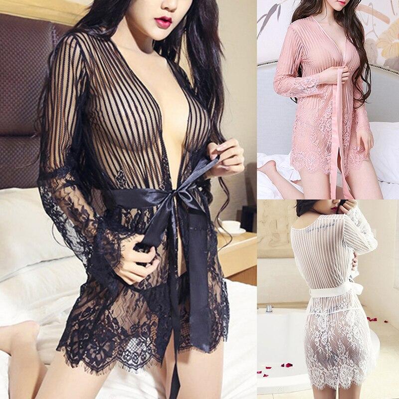 Women Sexy Lingerie Erotic Night Dress Lace Mesh Striped Transparent Baby Dolls Lenceria Sexy Sleepwear Sets Erotic Wear