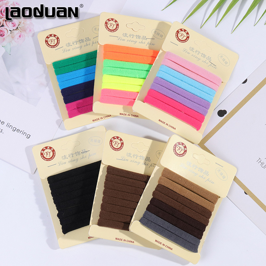8PCS/1Set Elastic Hair Bands Black Hair Accessories Gum For Hair Ponytail Rubber Bands Holder Girls Colorful Headband