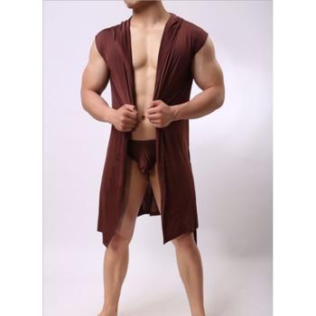 Vestido de verano para Hombre, bata de baño Sexy, pijama, sin mangas, con capucha, Kimono informal, albornoz, bata de Color sólido