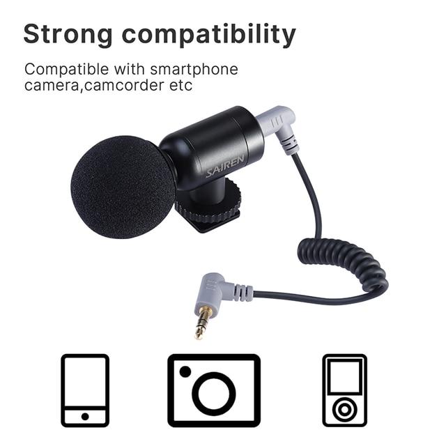Sairen nano mini record microphone super cardioid trs ttrs mic for gopro 8 7 6 sony a6400 slr camera smartphone video vlog