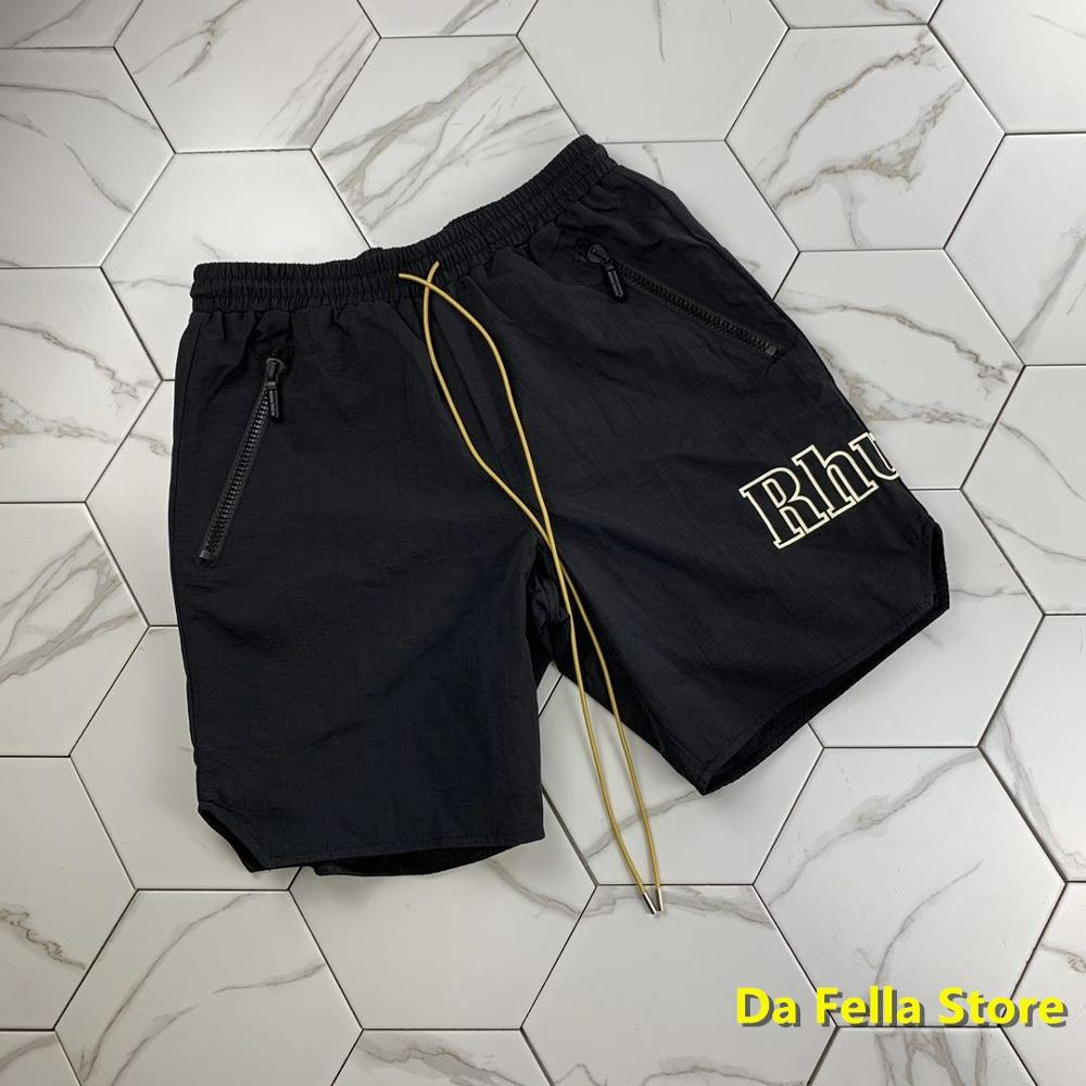 RHUDE Shorts Side Logo 2020SS Men Women EU/US Size Rhude Shorts Classic Pill Zipper Yellow Drawstring Breechcloth Oversize