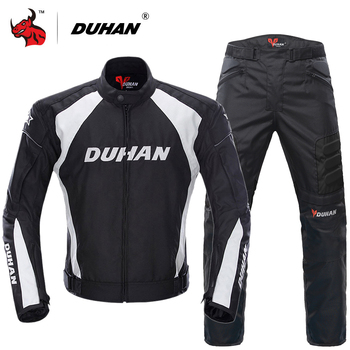 DUHAN Windproof Motorcycle Racing Suit Protective Gear Armor Jacket+Motorcycle Pants Hip Protector Moto Clothing Set