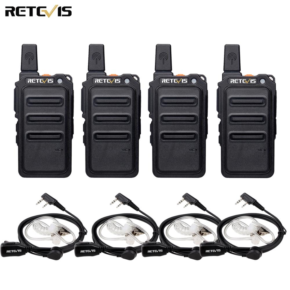 Retevis RT619 Mini Walkie Talkie 4pcs Radio Station Scrambler Ultrathin Fuselage Two Way Radio Portable PMR446 FRS VOX USB