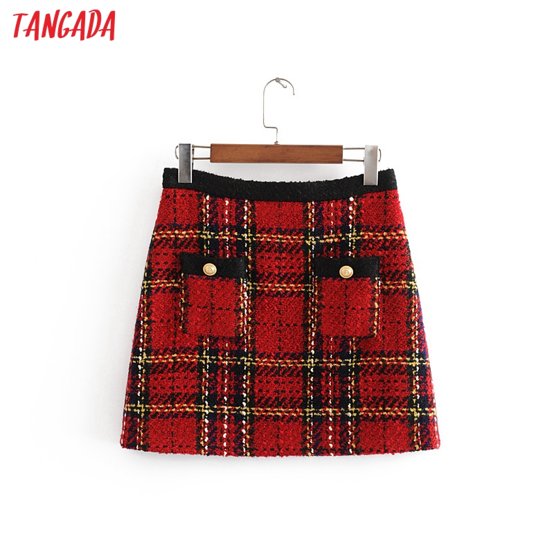 Tangada Fashion 2019 Women Plaid Red Mini Skirt Buttons Zipper England Style Retro Office Lady Mini Skirts Faldas Mujer 3H27