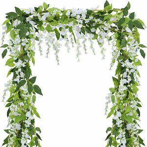 Image 3 - 8X 2 м белый искусственный Плющ из Вистерии, искусственные цветы, искусственная Цветочная Гирлянда Венок из винограда листьев, растительное растение, Декор для дома и улицы