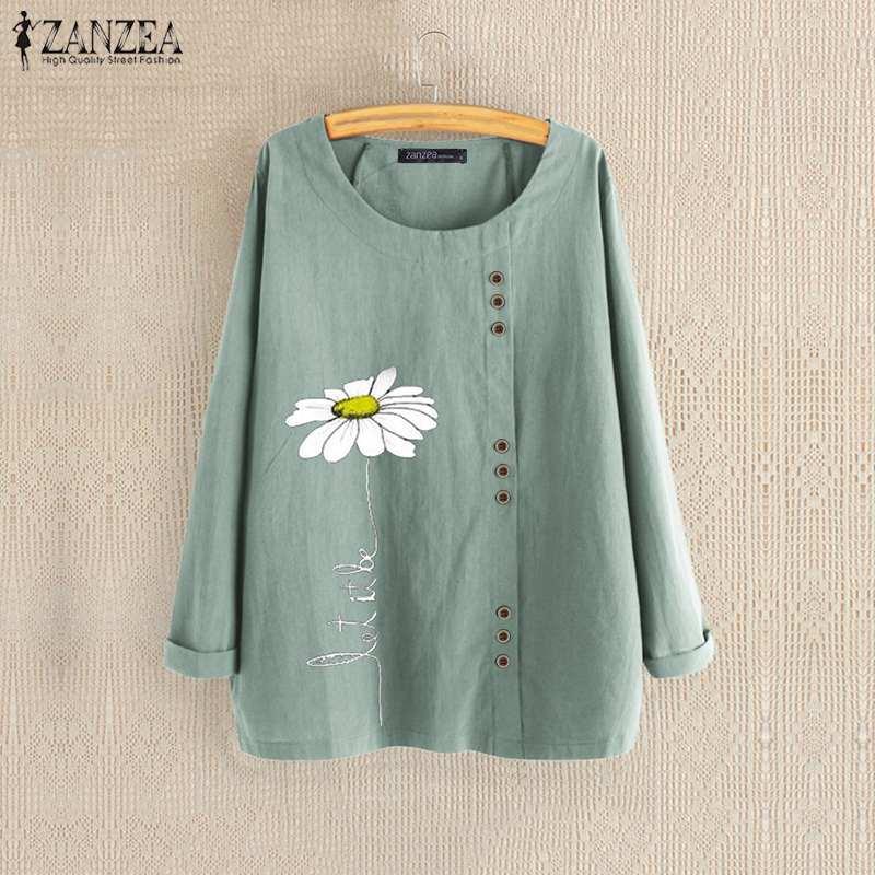 ZANZEA Autumn Blouse Women Casual Long Sleeve Shirt Femininas Floral Blusas Robe Femme Vintage Printed Tops Cotton Linen Blouses