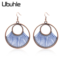 Vintage Big Round String Dangle Hanging Earring Boho Ethnic Drop Earrings for Women Female Wedding Party Jewelry Accessories vintage boho ethnic simple round dangle drop earrings for women female fashion jewelry hanging wedding earrings gold color hot