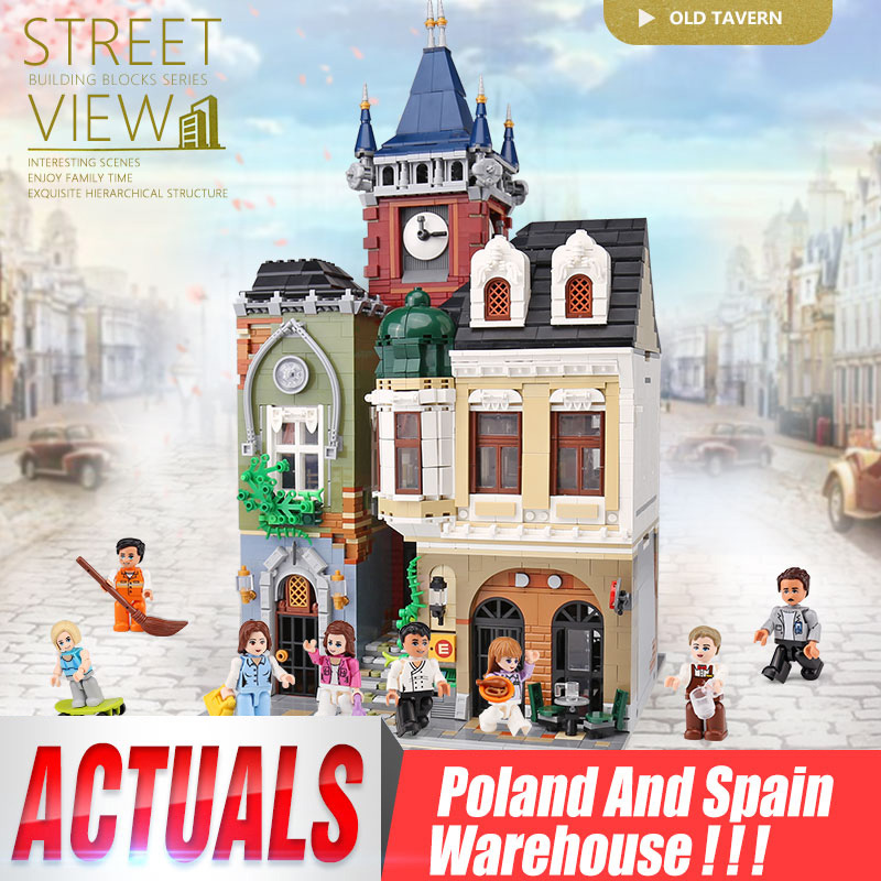 MOC Model City Streetview Series The Brickstive Old Town Pub Building Blocks Bricks Kits Toy Compatible Christmas Gift