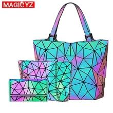 Kadın elmas geometrik deformasyon Tote çanta düzensiz katlanır omuzdan askili çanta holografik lazer ışık kova çanta