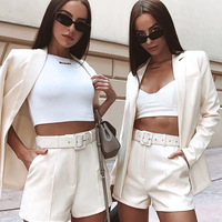 2019 Autumn Blazer 2 Piece Women Set Fashion Pink Color Casual Blazer Pants Women Suit Set Long Sleeve Jacket Shorts Set Mujer