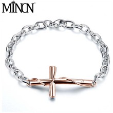MINCN Bracelet Stainless Steel Cross Wrapping Couple Titanium Plated Rose Gold Simple Student